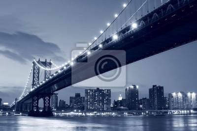 Plakat Manhattan Bridge i Manhattan Skyline At Night
