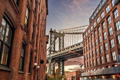Plakat Manhattan Bridge o zachodzie słońca