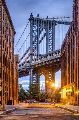 Plakat Manhattan Bridge widziany z Brooklynu w Nowym Jorku.