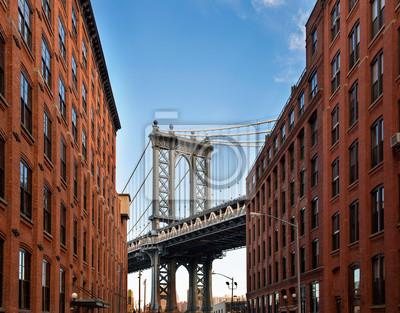 Plakat Manhattan Bridge z alei w Nowym Jorku