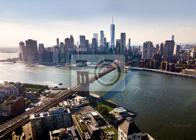 Plakat Manhattan most Nowy Jork miasta widok z lotu ptaka