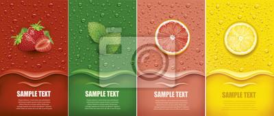 Plakat many fresh juice drops background with strawberry, mint, lemon, grapefrui