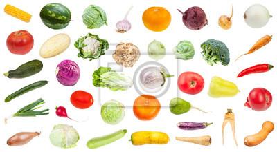 Plakat many various fresh ripe vegetables isolated