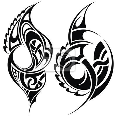 Maori Tatuaż Wzór Stylowe Plakaty Redro