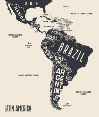 Plakat Map Latin America. Poster map of Latin America. Black and white print map of Latin America for t-shirt, poster or geographic themes. Hand-drawn graphic map with countries. Vector Illustration