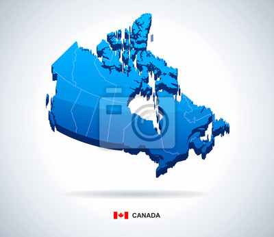Plakat Map of Canada - 3D vector illustration.