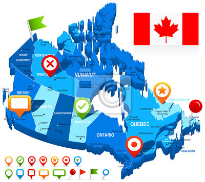 Plakat Map of Canada and flag - highly detailed vector illustration. Image contains land contours, country and land names, city names, water object names, flag, navigation icons.