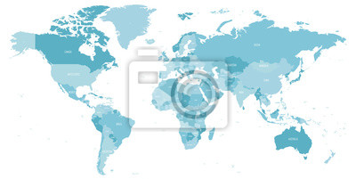 Plakat Map of World in shades of blue. High detail political map with country names. Vector illustration