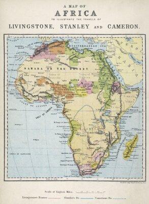 Plakat Mapa Afryki ilustrujący podróże odkrywców. Data: XIX wiek