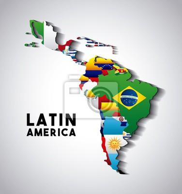 Plakat Mapa Ameryki Łacińskiej z flagami krajów. kolorowych wzorów. ilustracji wektorowych