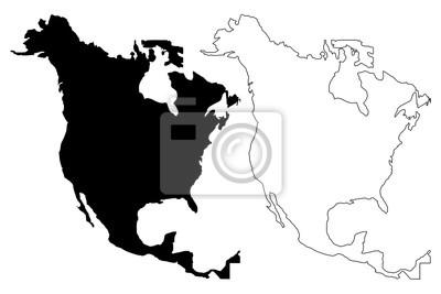 Plakat Mapa Ameryki Północnej ilustracji wektorowych, scribble szkic Ameryki Północnej