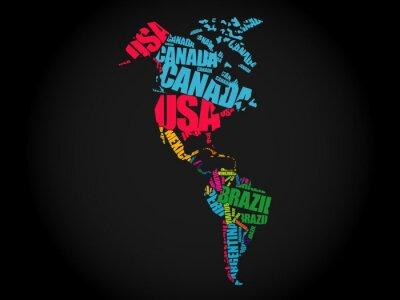 Plakat Mapa Ameryki typografii Word chmura koncepcji