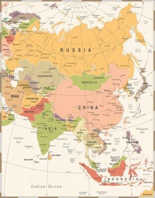 Plakat Mapa Azji - Ilustracja wektorowa Vintage