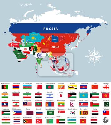 Plakat Mapa Azji Polaczona Z Flagami Panstw Wszystkie Flagi