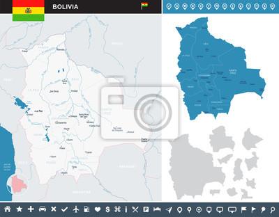 Plakat Mapa Boliwii - szczegółowe ilustracji wektorowych