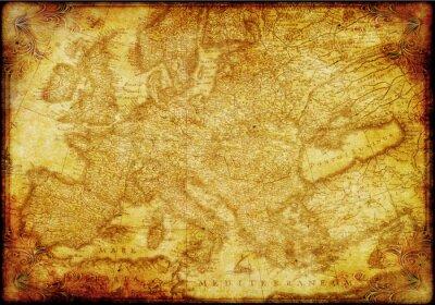 Plakat Mapa Europy w starym stylu
