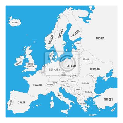 Plakat Mapa Europy Z Nazwami Krajow Suwerennych W Tym Ministaty