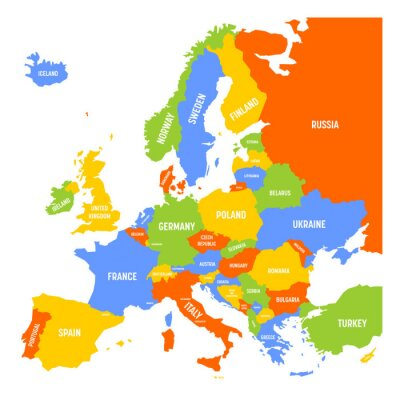 Plakat Mapa Europy Z Nazwami Suwerennych Krajow Ministatami I