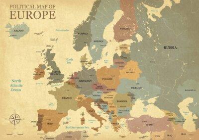 Plakat Mapa Europy z wielkimi literami - Tekstury Vintage - język angielski / amerykański - Vector CMYK