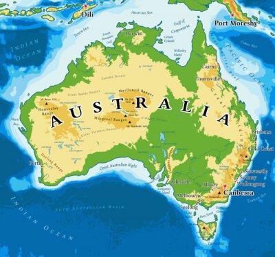 Plakat Mapa fizyczna Australii