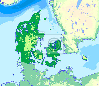 Plakat Mapa Fizyczna Danii Na Wymiar Mapa Dania Fizyczny