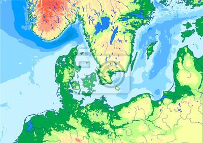 Plakat Mapa Fizyczna Danii Morza Baltyckiego I Morza Polnocnego