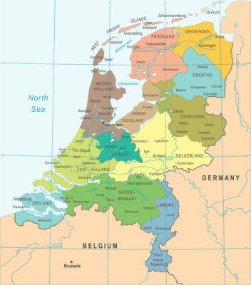 Plakat Mapa Holandii - Ilustracji Wektorowych