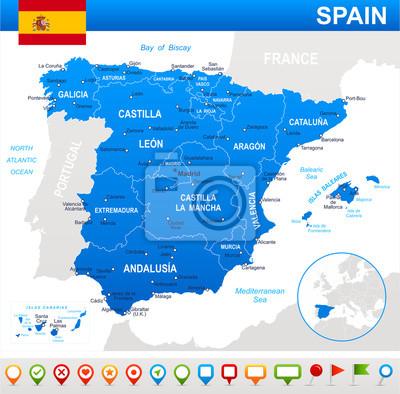 Mapa i flaga Hiszpanii - bardzo szczegółowe ilustracji wektorowych.
