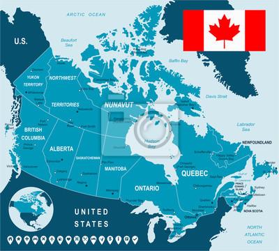 Mapa Kanady i flaga - bardzo szczegółowe ilustracji wektorowych. Obraz zawiera kolejnych warstw. Istnieje kontury ziemi, nazwy kraju i lądowe, nazwy miasta, nazwy obiektów wody, flagi, ikony nawigacyj