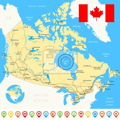 Plakat Mapa Kanady i flaga - bardzo szczegółowe ilustracji wektorowych. Obraz zawiera kontury ziemi, nazwy krajów i gruntów, nazwy miast, nazwy obiektów wody, flaga, ikony nawigacji, drogi, linie kolejowe, r