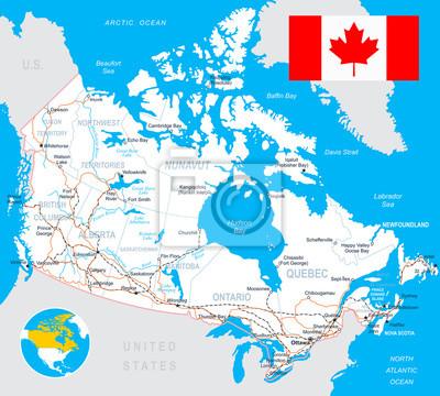 Plakat Mapa Kanady i flaga - bardzo szczegółowe wektor illustration.Image zawiera warstwy z konturami gruntów, kraju i nazwy gruntów, nazwy miast, nazw obiektów wody, flaga, dróg, linii kolejowych.