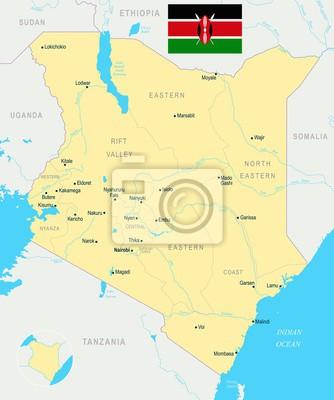 Plakat Mapa Kenii - szczegółowe ilustracji wektorowych