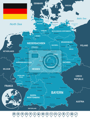 Mapa Niemiec i flaga - bardzo szczegółowe ilustracji wektorowych. Obraz zawiera kontury ziemi, nazwy krajów i gruntów, nazwy miast, nazwy obiektów wody, flaga, ikony nawigacyjne.