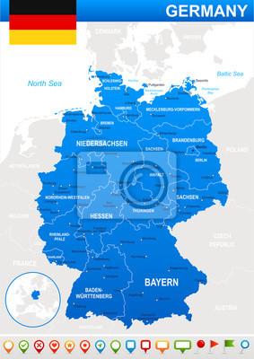 Mapa Niemiec i flagi - bardzo szczegółowe wektor illustration.Image zawiera kontury ziemi, nazwy krajów i gruntów, nazwy miast, nazwy obiektów wody. - flaga - ikony nawigacyjne