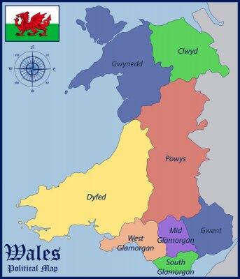 Plakat Mapa polityczna i Flaga Walii