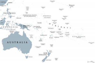 Plakat Mapa polityczna Oceanii z krajami. Etykietowanie w języku angielskim. Region, obejmujący Australię i Wyspy Pacyfiku z regionami Melanesia, Mikronezja i Polinezja. Szary ilustracji nad bia? Ym. Wektor.