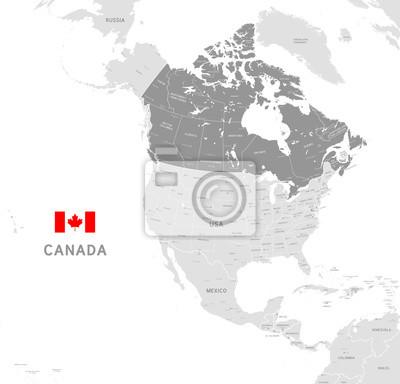 Plakat Mapa polityczna szary wektor z Kanada