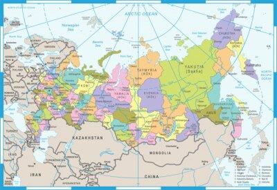 Plakat Mapa Rosji - Ilustracji Wektorowych