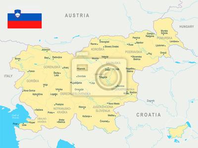 Plakat Mapa Słowenii - szczegółowe ilustracji wektorowych