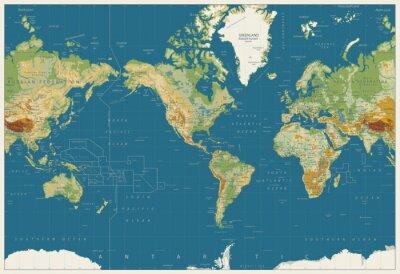 Plakat Mapa świata Ameryka Środkowa Mapa fizyczna. Kolory Vintage. Brak batymetrii