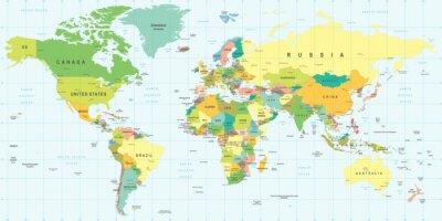 Plakat Mapa świata - bardzo szczegółowe ilustracji wektorowych.