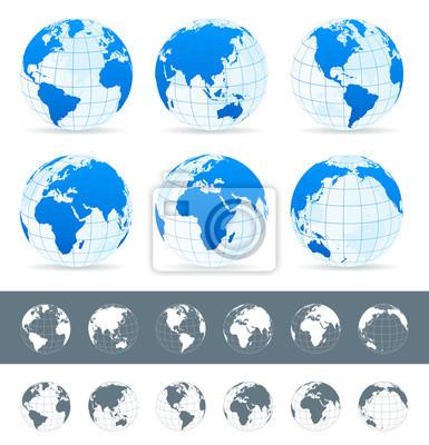 Mapa świata, globusy, Kontynenty, ikony nawigacyjne - illustration.Highly szczegółowy ilustracji wektorowych Mapa świata, globusy i kontynentów.