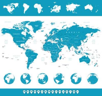 Mapa świata, globusy, Kontynenty, ikony nawigacyjne - ilustracji.