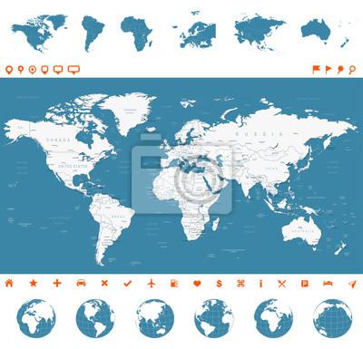 Plakat Mapa świata, globusy, Kontynenty, ikony nawigacyjne - ilustracji. Bardzo szczegółowe ilustracji wektorowych Mapa świata, globusy i kontynentów.