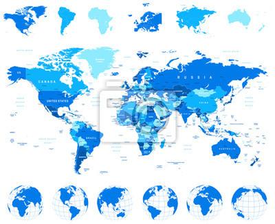 Mapa świata, globusy, Kontynenty - illustration.Highly szczegółowy ilustracji wektorowych Mapa świata, globusy i kontynentów.