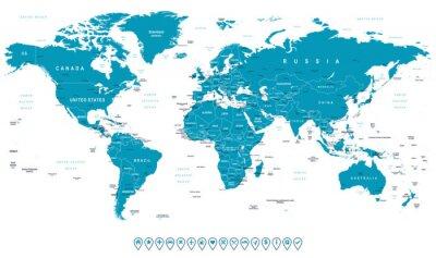 Plakat Mapa świata i nawigacji ikony - illustration.Highly szczegółowej mapie świata: państwa, miasta, obiekty wodne.