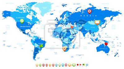 Mapa świata i nawigacji ikony - ilustracji