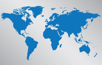 Plakat Mapa świata ilustracji na szarym tle