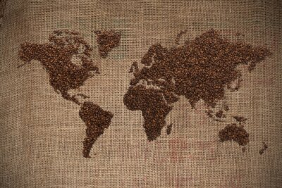 Plakat Mapa świata kawy