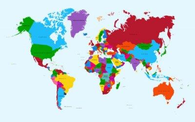 Plakat Mapa świata, kolorowe kraje atlas EPS10 plik wektorowy.
